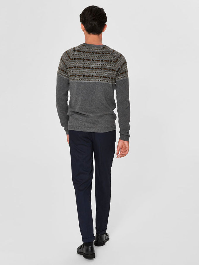 FAIR ISLE WOOL SWEATER Dark Grey Melange