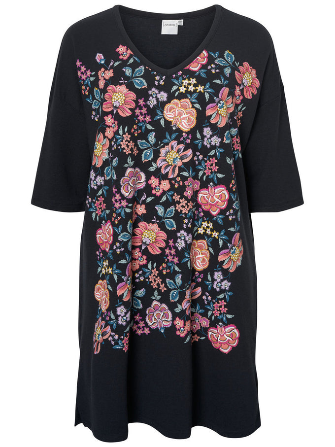 T-SHIRT-DRESS WITH FLOWER PRINTS Black