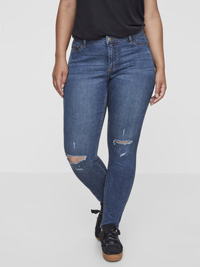 SLIM FIT JEANS WITH KNEE CUTS