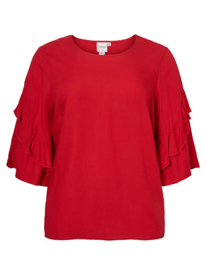 RED BLOUSE WITH FRILLS