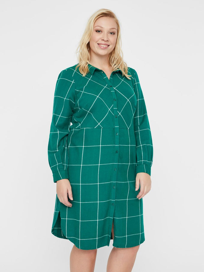CHECKERED SHIRT DRESS Ultramarine Green