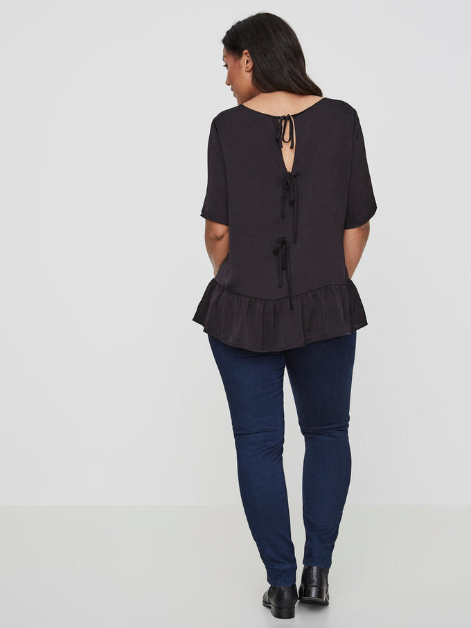 SILKY BLOUSE WITH BACK DETAILS Black