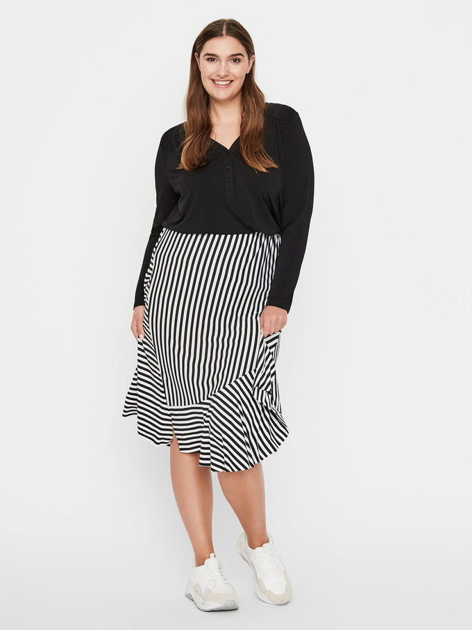 STRIPED MIDI SKIRT Black