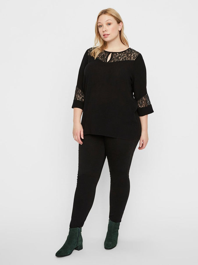 3/4 SLEEVE BLOUSE WITH LACE DETAILS Black