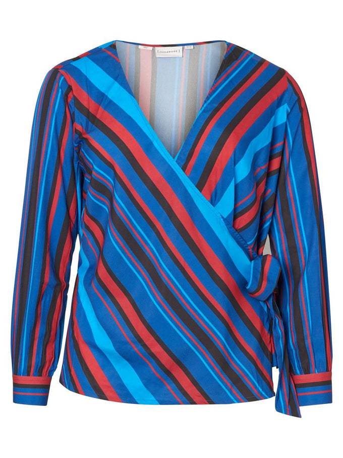 STRIPED WRAP BLOUSE Monaco Blue