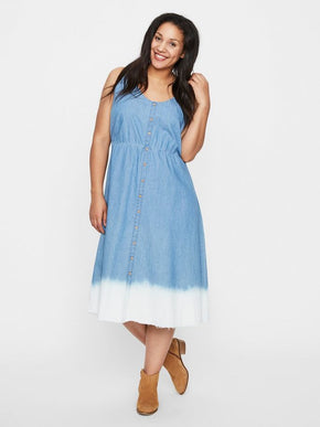 BUTTON-UP DENIM DRESS