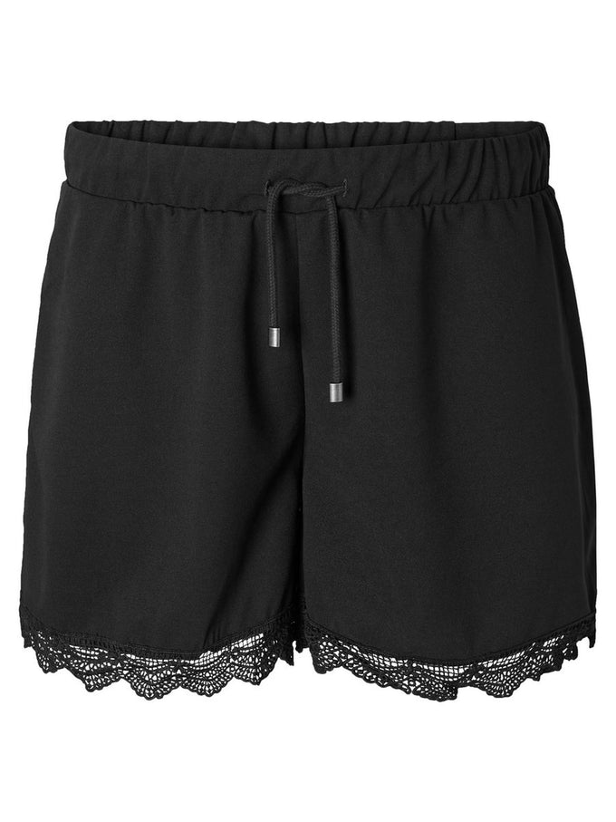 JERSEY SHORTS WITH LACE Black