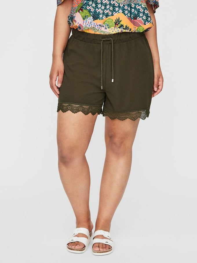 JERSEY SHORTS WITH LACE Ivy Green