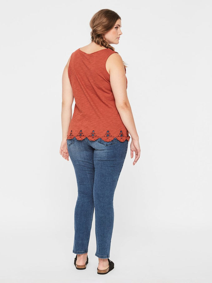 SLEEVELESS TOP WITH EMBROIDERED DETAILS Arabian Spice