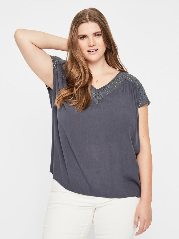 SHORT SLEEVE CREPE BLOUSE Ombre Blue