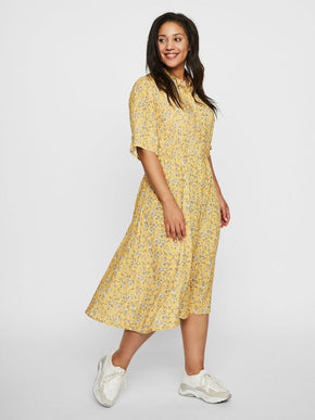 YELLOW MIDI SHIRT-DRESS
