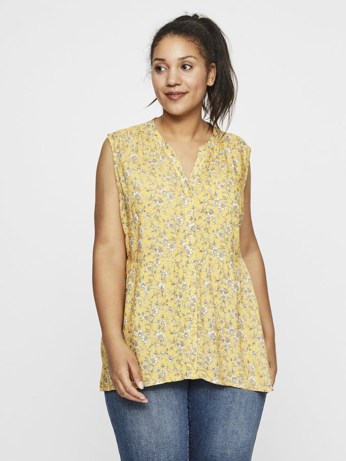 SLEEVELESS TOP WITH FLOWERS Yolk Yellow