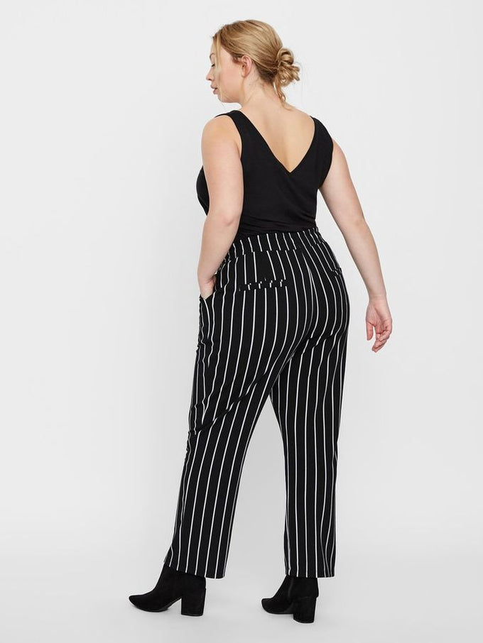 LOOSE STRIPED JERSEY PANTS Snow White