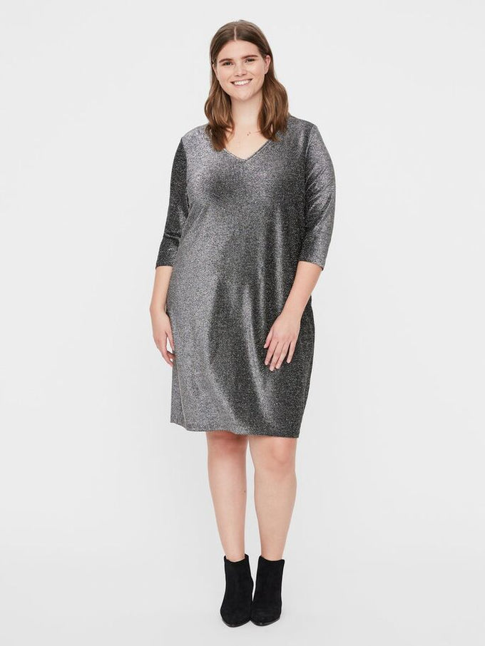 SAKINA 3/4 SLEEVE ABOVE KNEE DRESS Black