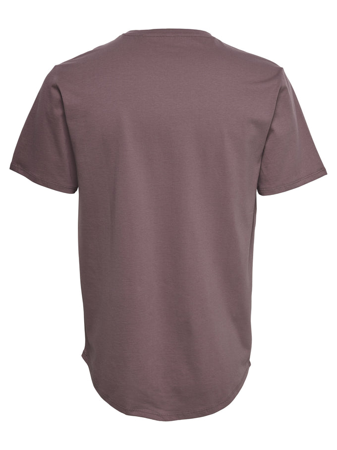 LONG FIT T-SHIRT WITH A CURVED HEMLINE Rose Taupe