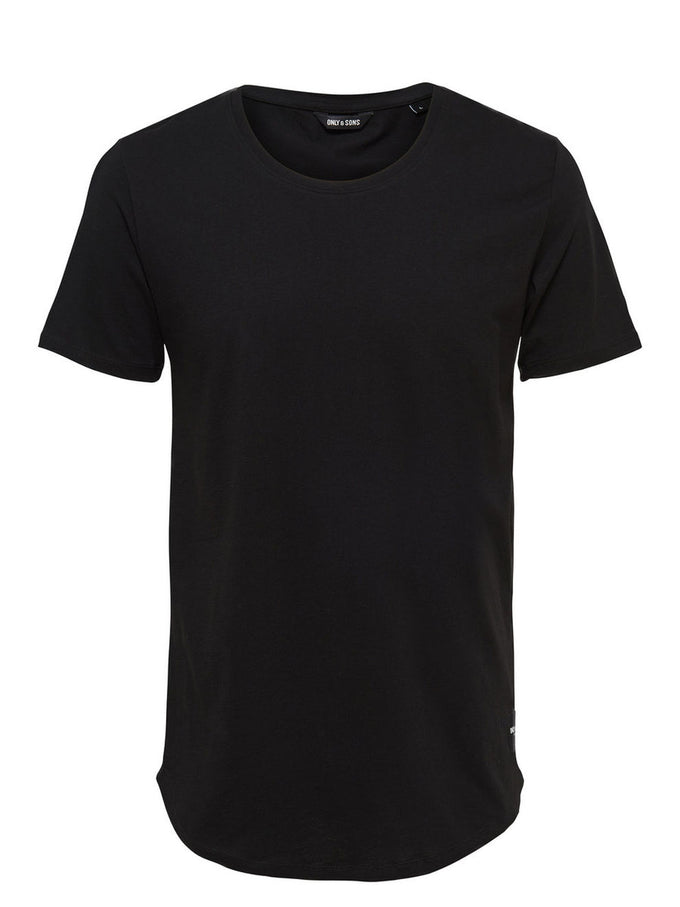 LONG FIT T-SHIRT WITH A CURVED HEMLINE Black