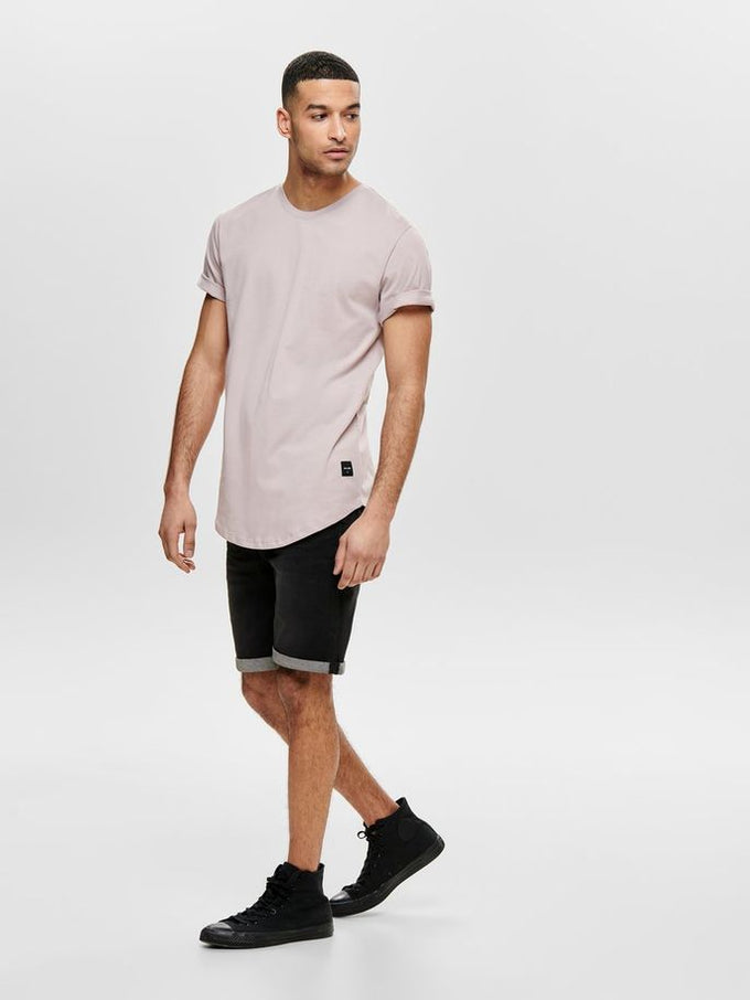 LONG FIT T-SHIRT WITH A CURVED HEMLINE Cloud Gray