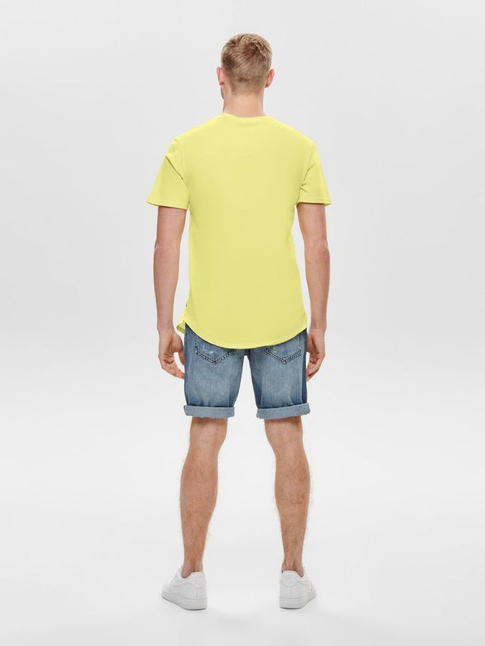 LONG FIT T-SHIRT WITH A CURVED HEMLINE Mellow Yellow
