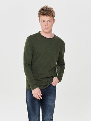 TONE-ON-TONE THIN T-SHIRT
