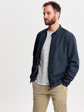 BOMBER JACKET WITH HYBRID COLLAR
