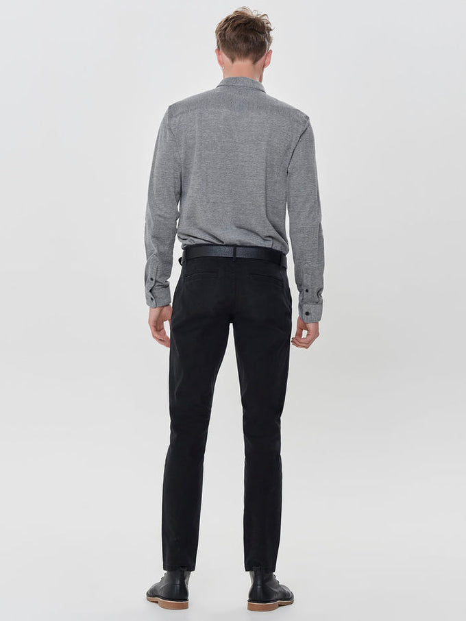 KNIT STYLE SLIM FIT SHIRT Black