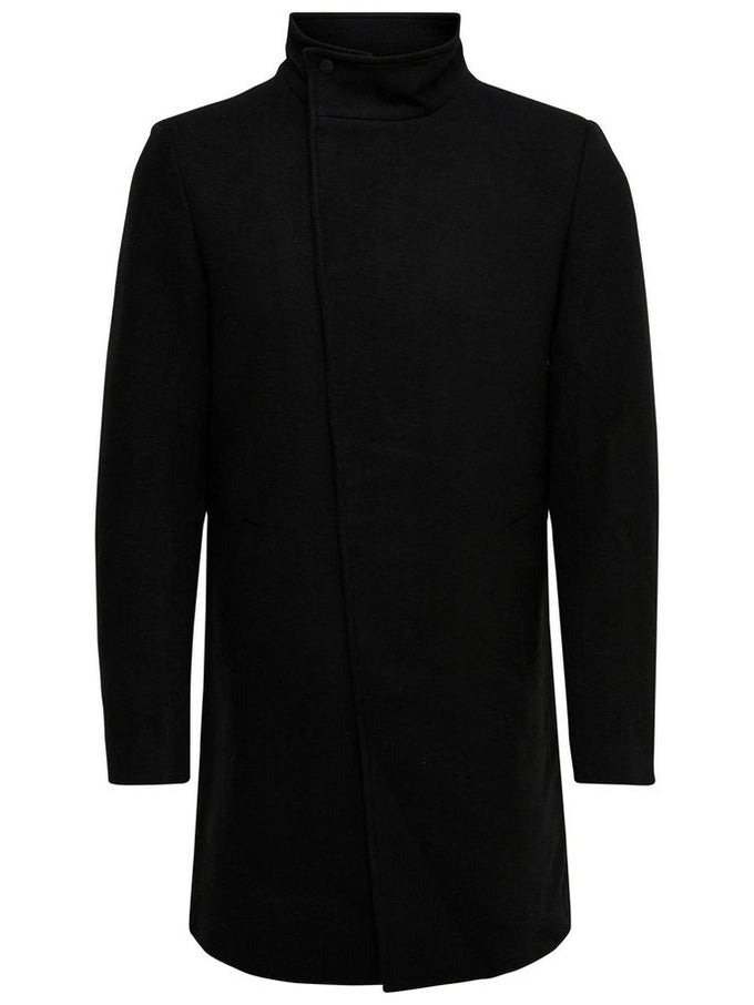 ASYMMETRIC WOOL COAT Black