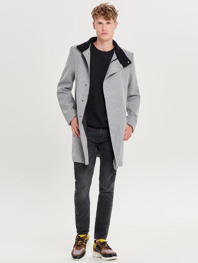 ASYMMETRIC WOOL COAT Light Grey Melange