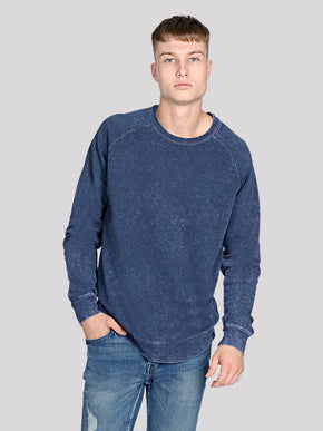 WASHED LOOK STRETCH CREWNECK