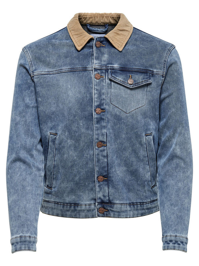 DENIM JACKET WITH CORDUROY COLLAR Blue Denim