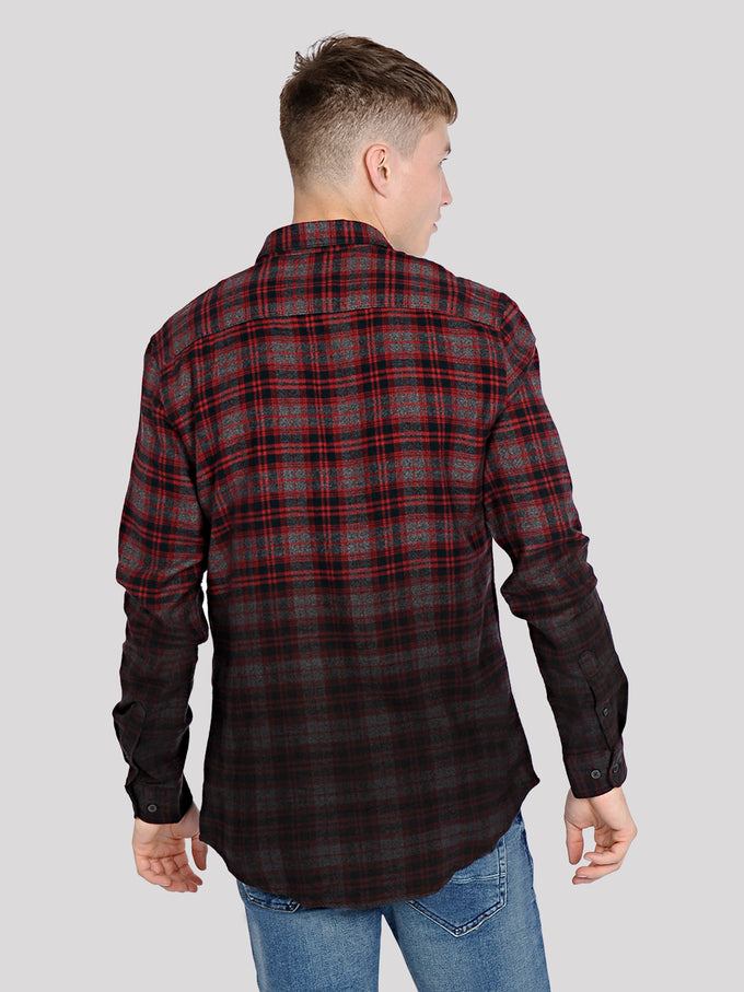 DIP DYED CHECKERED FLANNEL SHIRT Cabernet