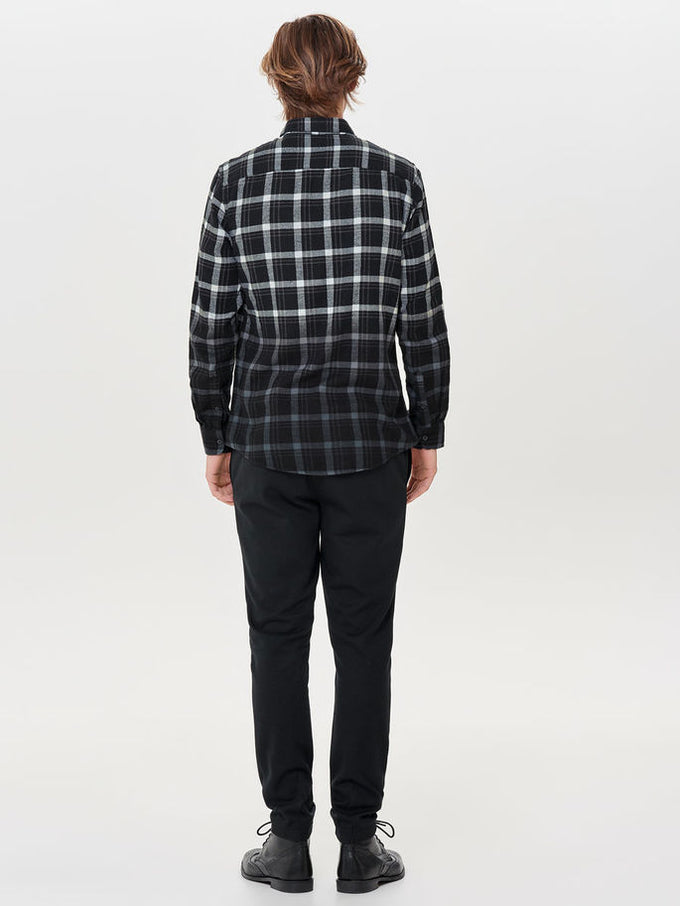 DIP DYED CHECKERED FLANNEL SHIRT Black