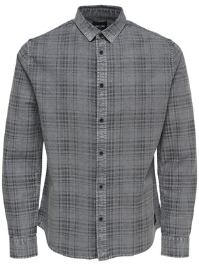 ACID WASHED CHECKERED SHIRT