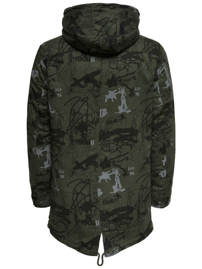 FISHTAIL PARKA WITH TEDDY LINING Forest Night