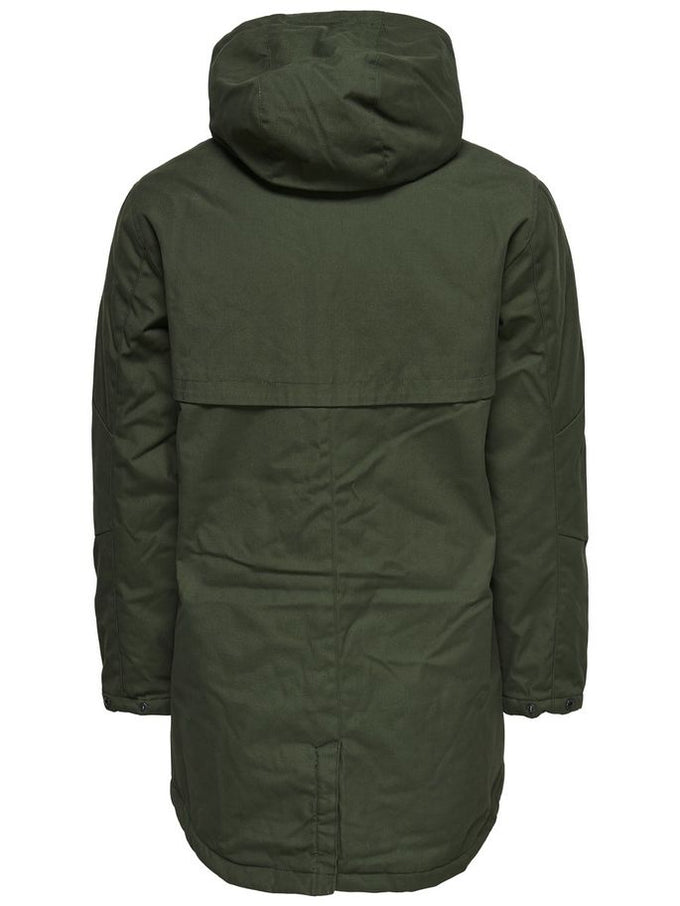 PARKA WITH CONTRAST HOOD Forest Night