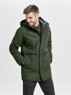 PARKA WITH CONTRAST HOOD