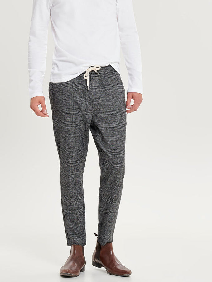 JOGGER STYLE PRINCE OF WALES PANTS Medium Grey Melange