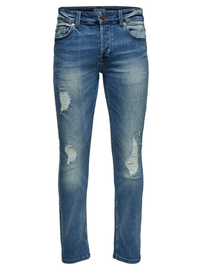 SLIM FIT STRETCH JEANS WITH USED DETAILS Blue Denim