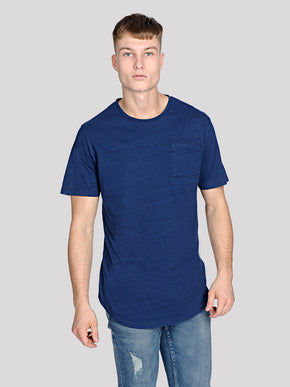 INDIGO DYED LONG FIT T-SHIRT