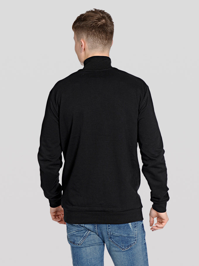 ATHLETIC STYLE HALF-ZIP SWEATSHIRT Black