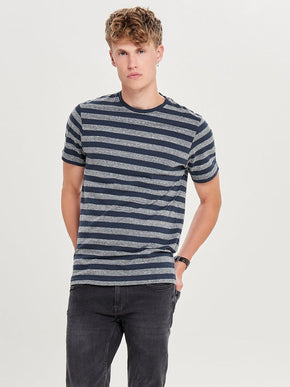 HEATHERED STRIPED T-SHIRT