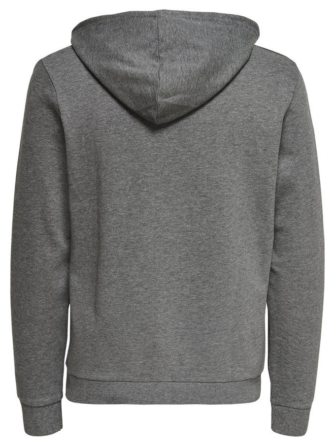 BASIC HOODIE WITH BRUSHED INSIDE Dark Grey Melange
