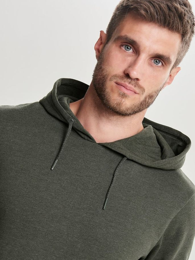 BASIC HOODIE WITH BRUSHED INSIDE Forest Night