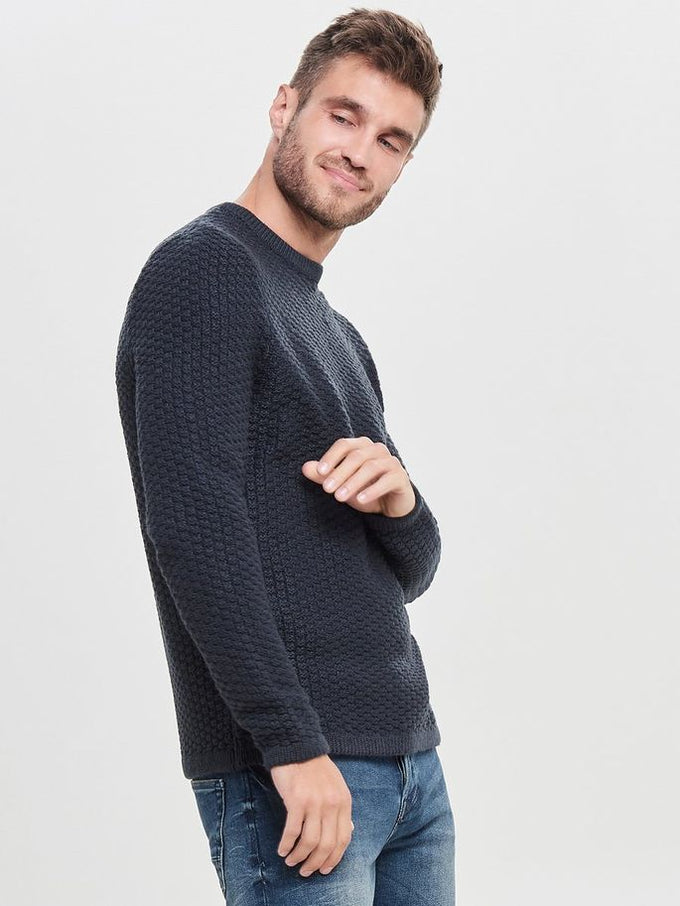 HEAVY KNIT SWEATER Dark Navy