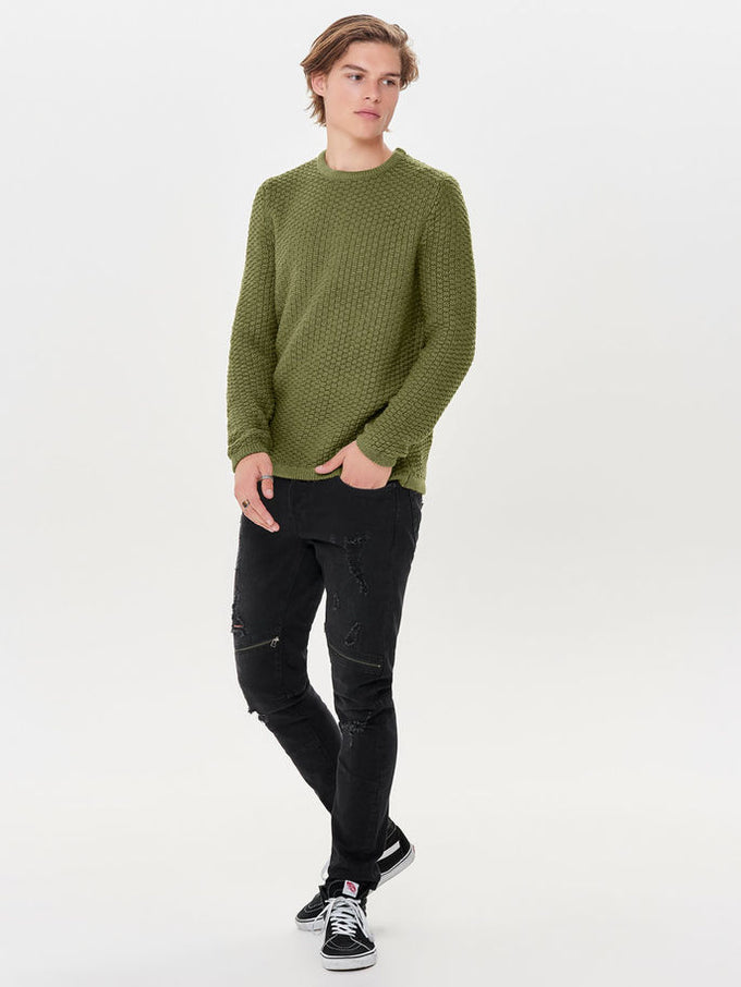 HEAVY KNIT SWEATER Ermine