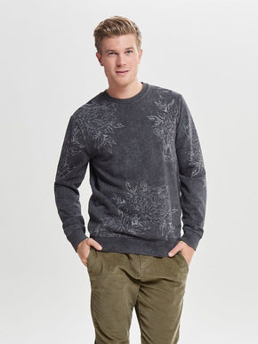 WASHED STYLE FLORAL SWEATSHIRT