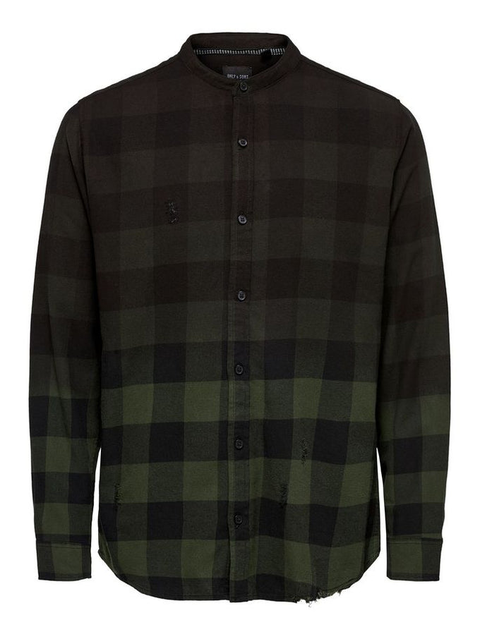 DIP DYED MANDARIN COLLAR SHIRT Forest Night