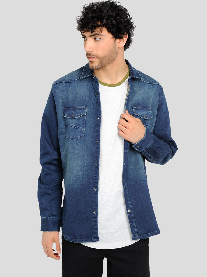 JOG STYLE DENIM SHIRT Dark Blue Denim