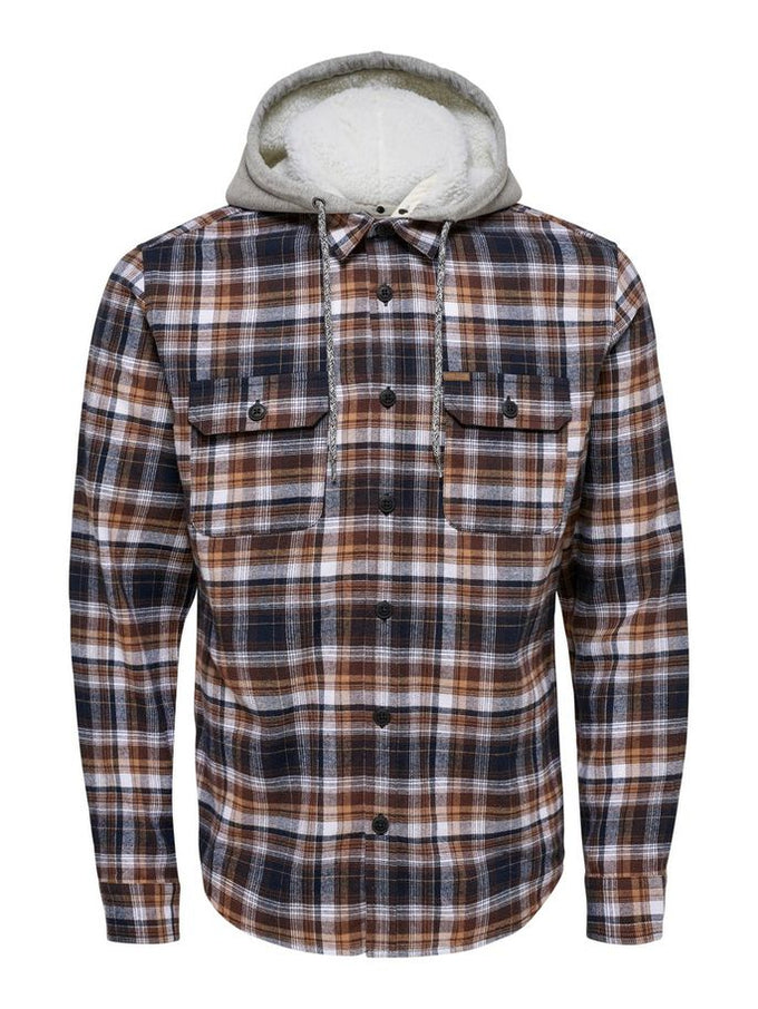 CHECKERED SHIRT WITH DETACHABLE HOOD Demitasse