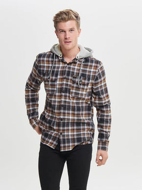 CHECKERED SHIRT WITH DETACHABLE HOOD