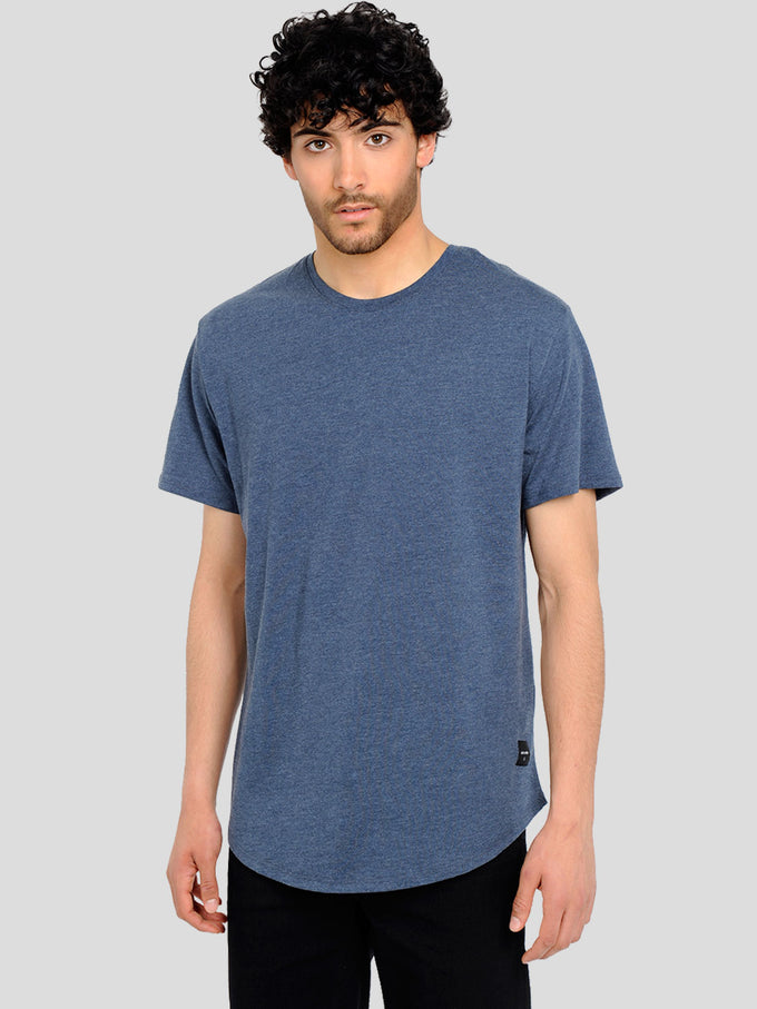 MELANGE LONG FIT T-SHIRT WITH A CURVED HEMLINE Dress Blues
